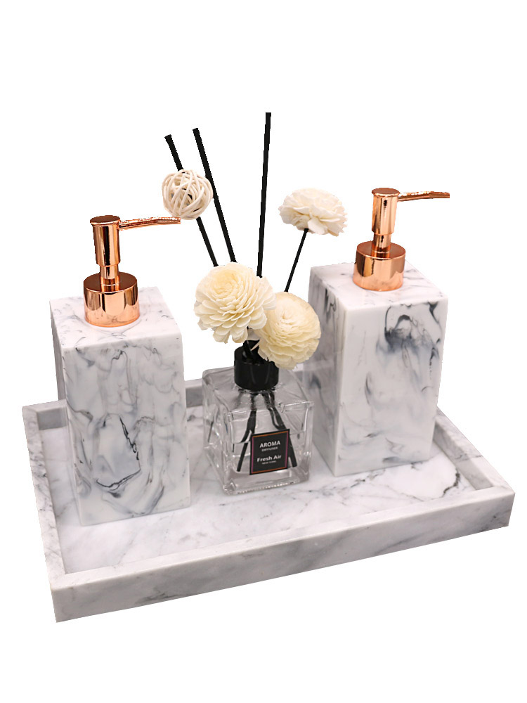 Marble Texture Resin Dispenser Luxury Tissue Box Bathroom Set Storage Tray Dish Nordic Home Mouth Cup Hotel Custom