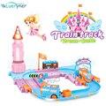 2016 Novo design Castelo Removível conjunto Trilho de Trem Elétrico Brinquedos menina Presente de Natal Das Crianças Dos Miúdos Do Bebê