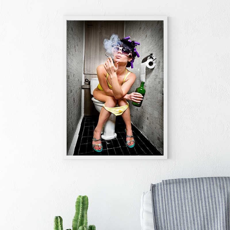 Kreatywny Bar WC dziewczyna malarstwo ciekawe WC dekoracje ścienne restauracja kobiety nagie zdjęcia ubikacja piwa Body Art plakaty