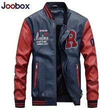Jacket Men Embroidery Baseball Jackets Pu Faux Leather Coats Slim Fit Zipper Casual College Luxury Fleece Pilot