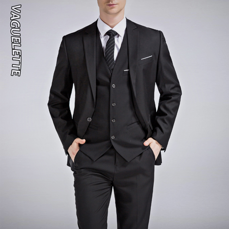 VAGUELETTE Black&Royal Blue Wedding Men Suit 2019 White Slim Fit Stage Costume Homme Formal Solid Grey 3 Piece Suit With Pants