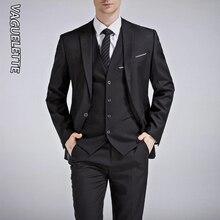 VAGUELETTE Black&Royal Blue Wedding Men Suit 2019 White Slim Fit Stage Costume Homme Formal Solid Grey 3 Piece With Pants