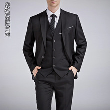 Wedding Men Suit Costume White Pants Slim-Fit Grey Royal-Blue Black Formal 3piece VAGUELETTE