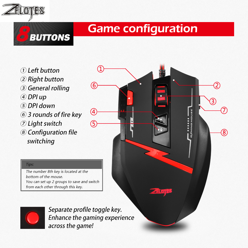 Image 5 - Zealot C 8 Programmable LED Optical USB Gaming Mouse 2500 DPI 8 Buttons computer mouse hand game Gaming Mouse for PC laptop-in Mice from Computer & Office
