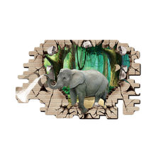 60*90cm 3D Elephant Wall Stickers for Kids Rooms Bedrooms vinyl photo frame Poster wallpaper Home Decoration(China)