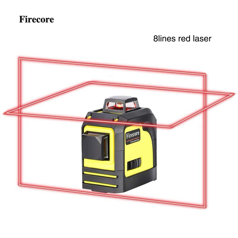 Firecore 8 Lines 92T Laser Level Self-Leveling (4 degrees) Horizontal And Vertical Cross Line Super Powerful Red Laser Beam Line firecore a8826d 2 lines laser level 1v1h1d cross self leveling red beam laser 0 28m tripod