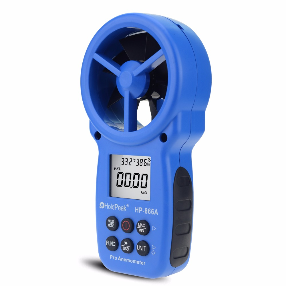 HoldPeak 866A digitale anemometer - Windsnelheidsmeter Meet windsnelheid, temperatuur, windstroom met Data Hold & USB