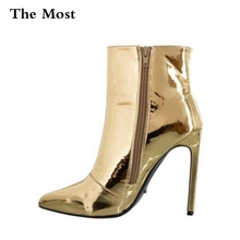 ARQA Women Boots Fashion Platform punk high thin heels Ankle boots Plus Size33-48 Autumn Winter Zip Silver Casual Party shoes