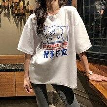 Women T-shirts 2019 Summer Harajuku Korean Style Kawaii Streetwear cartoon print o neck tshirt
