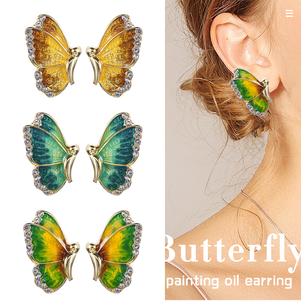 2019 New Fashion Charm Gold Green Tone Crystal Rhinestone Butterfly Stud Earrings Jewelry Gift For Women Girl Pendientes Mujer