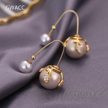 GWACC 2019 NEW Design Round Natural Freshwater Pearls Drop Earrings For Women Metal Brass Gold Color Chic Big Beads