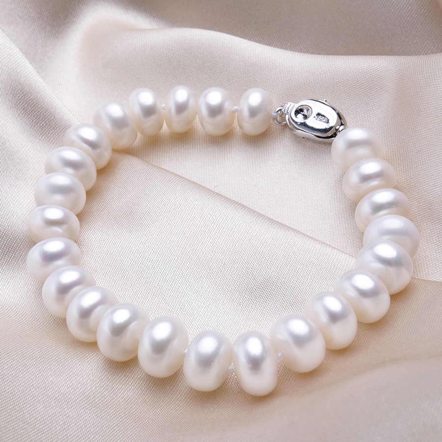 Высококачественные браслеты из натурального пресноводного жемчуга для женщин, удивительная цена, 7-8 мм/9-10 мм, ювелирные изделия из жемчуга, серебро 925, браслет 18 см
