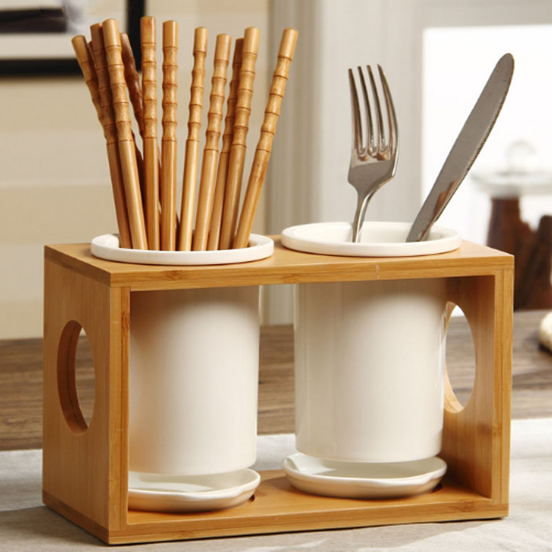 Chopsticks Storage Rack Ceramic Bamboo Dish Drainer Cutlery Holder For Fork Spoon 1Pcs Kitchen Organizer Japanese Style