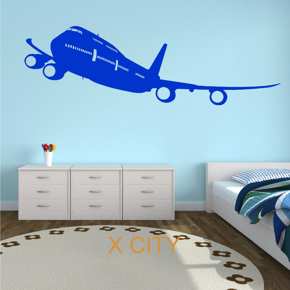 Boeing 747 passenger plane aircraft plane aeroplane wall for Airplane cockpit wall mural