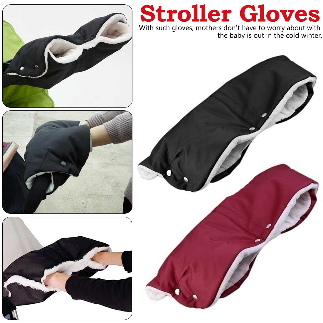 Baby Stroller Hand Muff Pram Waterproof Gloves Winter Outdoor Mother Pram Cart Thick Fleece Gloves