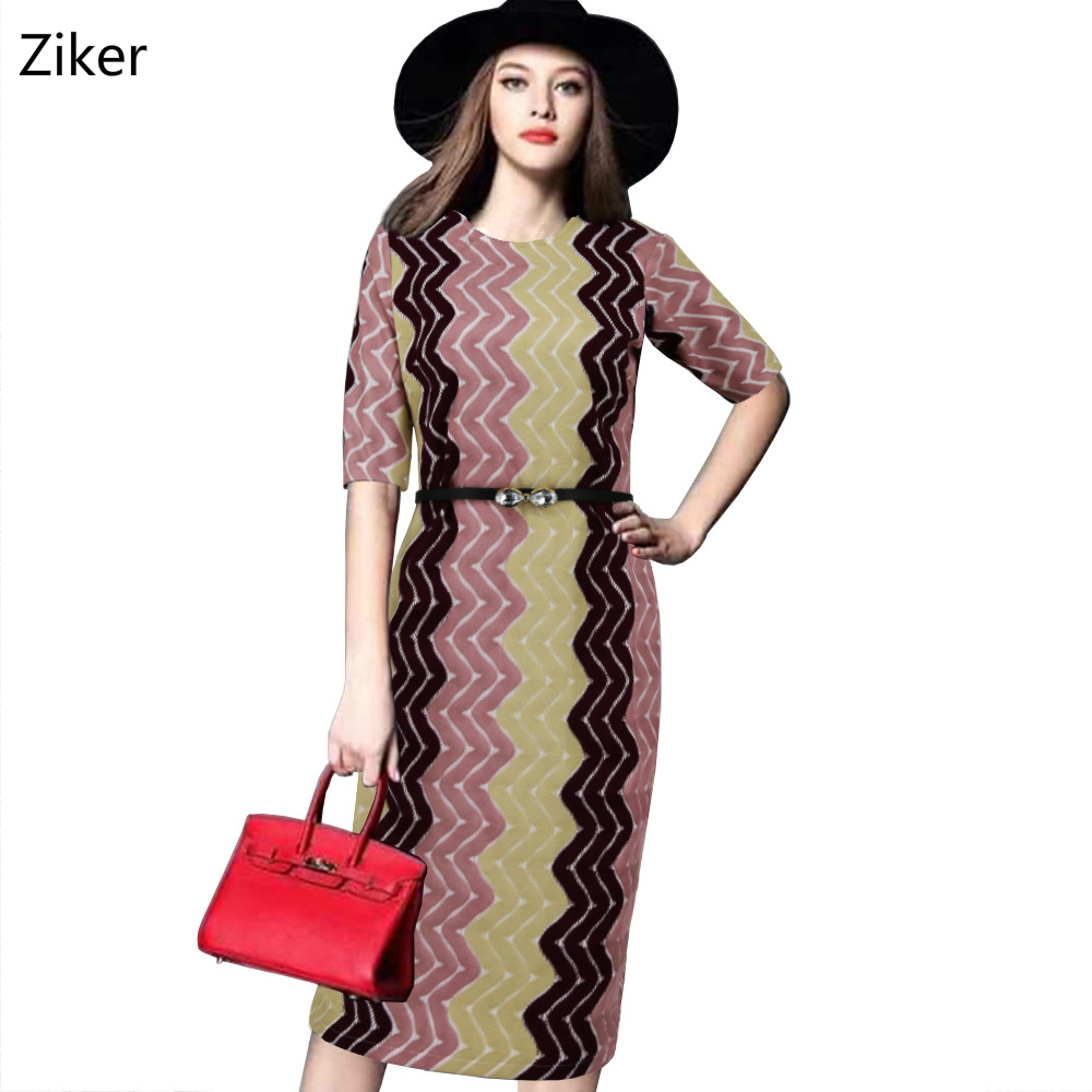 Autumn Fashion Women Knitted Dresses O-Neck Half Sleeve Knee Length Casual Work Dress