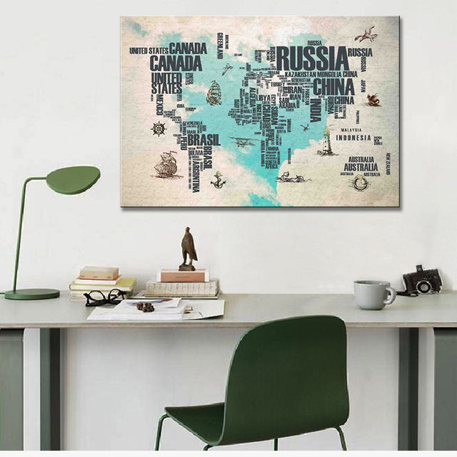 1pcs huge letter maps canvas painting amazing abstract heart world 1pcs huge letter maps canvas painting amazing abstract heart world maps very clear picture living room gumiabroncs Image collections