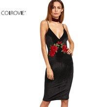 COLROVIE Sexy Club Velvet Dresses Floral Bodycon Dress Deep V Neck Black Embroidered Rose Backless Spaghetti Stripe Cami Dress