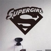 New arrival Supergirl Logo Wall Decal Cartoons Comics Superhero Sticker Home Interior Children Nursery Room Decor