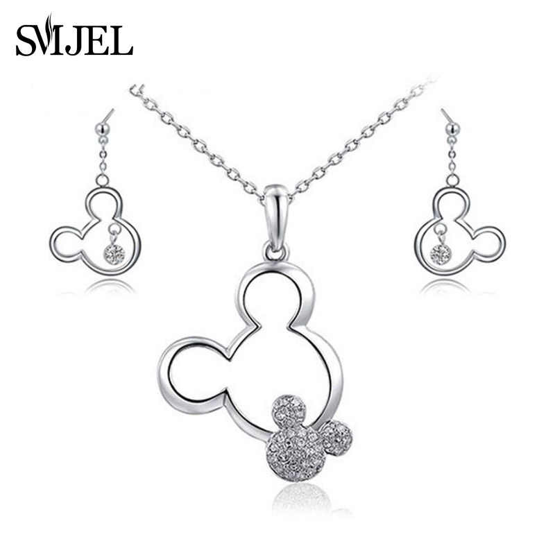SMJEL nouveau cristal Mickey colliers boucles d'oreilles pour femmes enfants dames bijoux ensemble souris fête des mères cadeau colliers de noël