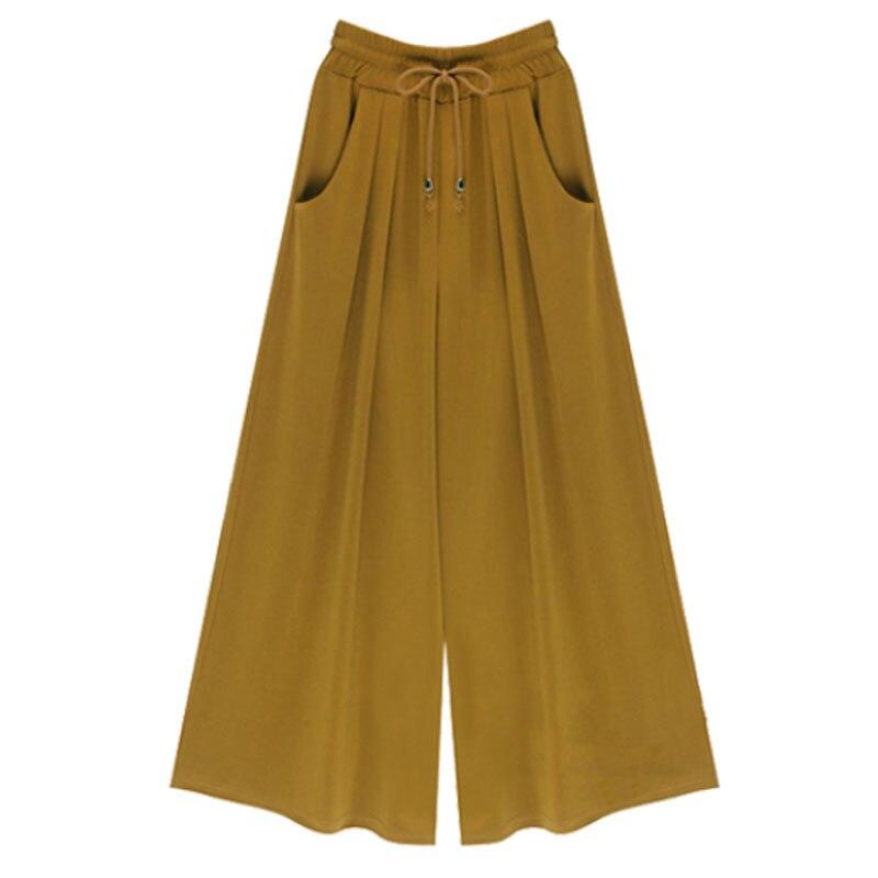 2019 Autumn European Style Plus Size M- 6XL Women Trousers  Loose Female Wide Leg Pants  Pockets Elastic Drawstring Capris