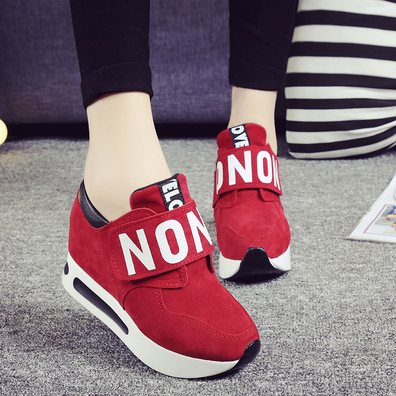 ФОТО 2016 Harajuku Women Casual Canvas Shoes Woman Platform Wedges Thick Soled Shook Shake Shoes Zapatillas Deportivas Zapatos Mujer