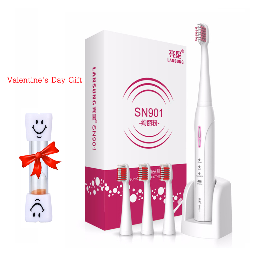 LANSUNG SN901 Ultrasonic Electric Toothbrush Rechargeable Tooth Brush 4 Pcs Replacement Heads 2 Minutes Timer Brush Teeth 2017 220v pink a39plus 55 wireless ultrasonic electric toothbrush electric tooth brush rechargeable 4 heads teeth brush