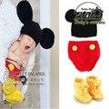Recién nacido Fotografía Ropa de Bebé de Algodón Hecho A Mano de Punto de Ganchillo Traje Con Sombrero Y Zapatos de Mickey Mouse Trajes de Cosplay