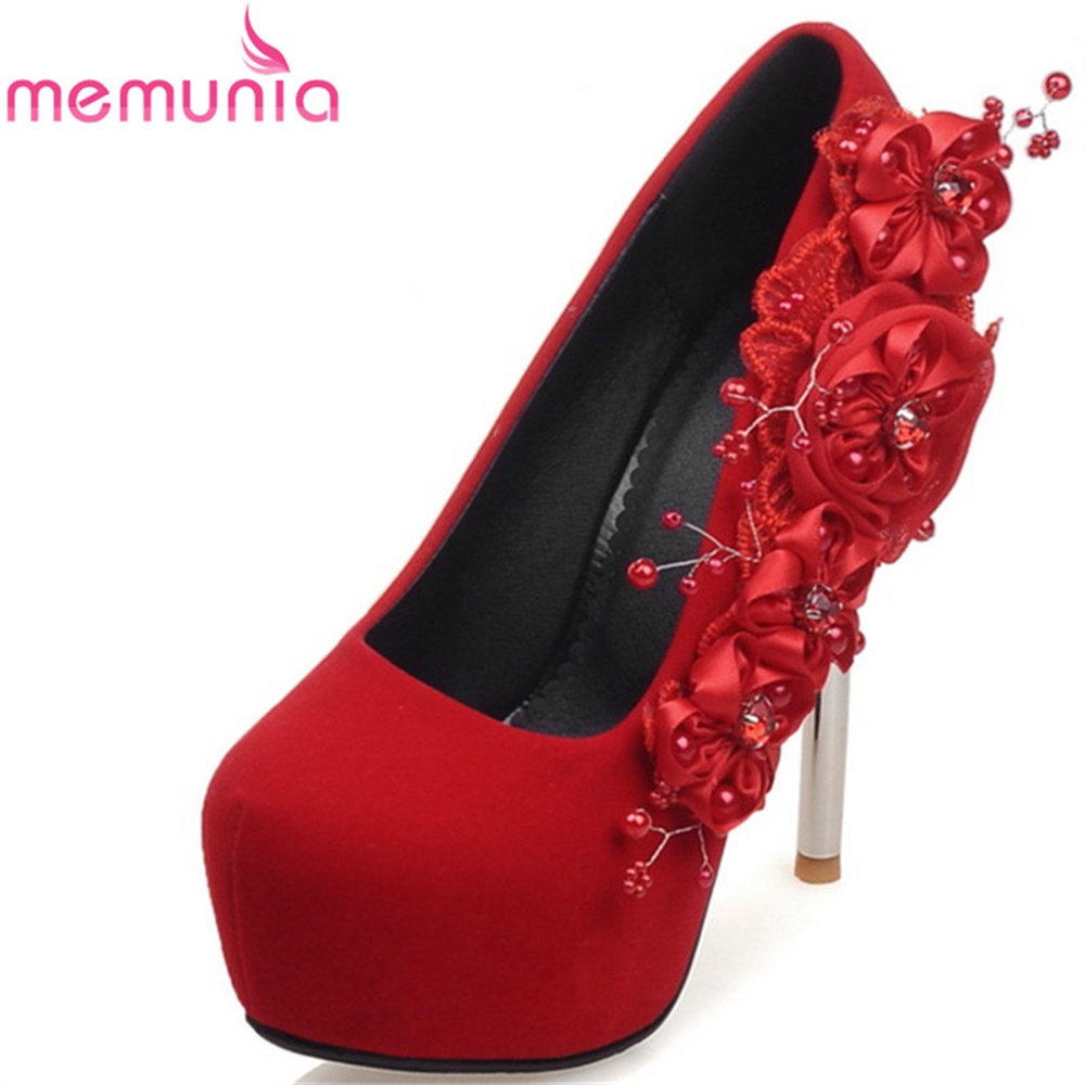 MEMUNIA spring autumn high heels shoes women pumps comfortable new arrive round toe flower elegant large size wedding shoes memunia 2018 new arrive women pumps
