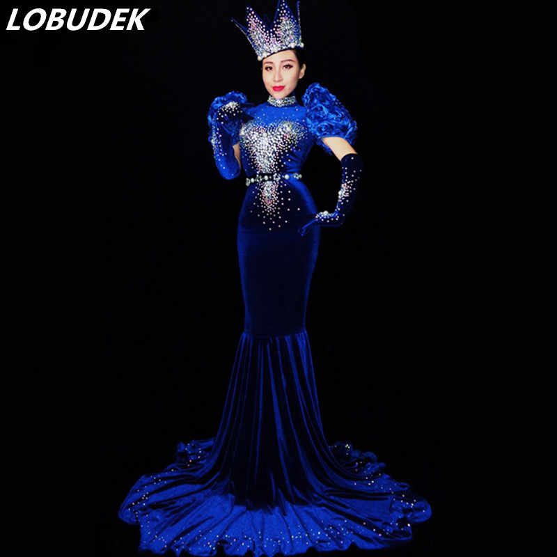 c214ada0a6c Shining blue Tail Dresses Crystals Female costume sexy Bar DJ Singer  Dancing prom Evening party dress