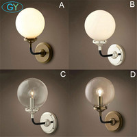 Industrial Nordic Art decor Vintage LED luminaire wall lamp lampen lights glass globe ball lampshade shade led sconce