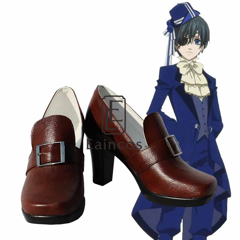 Anime Black Butler Ciel Phantomhive Birthday Party Shoes Cosplay Black Brown Boots Custom Made