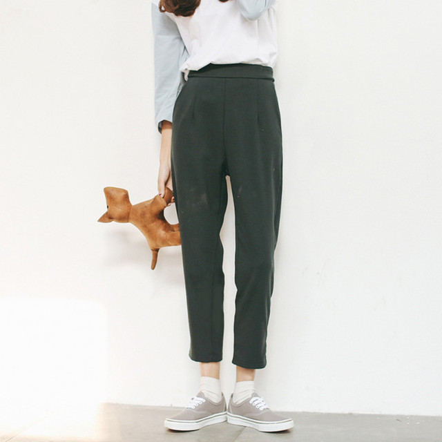 Women's pants spring and autumn high waist ankle length trousers girls loose black gray and dark blue suit pants A280