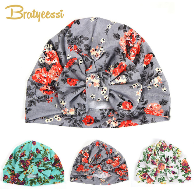 91426718197fc6 New Floral Print Baby Girl Hat with Bow Cotton Bohemia Turban Infant Beanie  Baby Cap 1 PC