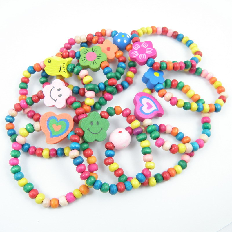 Wooden Beads Bracelets Jewelry Gift Elastic Random-Color-Style Children Birthday-Party