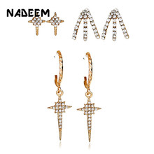 New Gold Color 3Pairs/Sets Crystal Claw Star Stud Earrings Set For Women Punk Circle Drop Rhinestone Earring Bijoux Jewelry