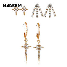 New Gold Color 3Pairs/Sets Crystal Claw Star Stud Earrings Set For Women Punk Circle Drop Rhinestone Stud Earring Bijoux Jewelry(China)