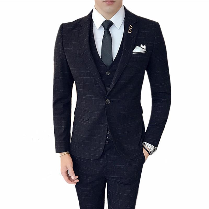 Suits Men's British Style Business High-end Custom Line Printing Slim Business Blazers3 Sets (coat + Vest + Pants) S-4XL
