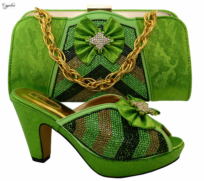 Amzing Shoes and Bag High Heels Matching Italian Style Sandals With Handbag Set for Wedding & Party MM1028 Green africa style pumps shoes and matching bags set fashion summer style ladies high heels slipper and bag set for party ths17 1402