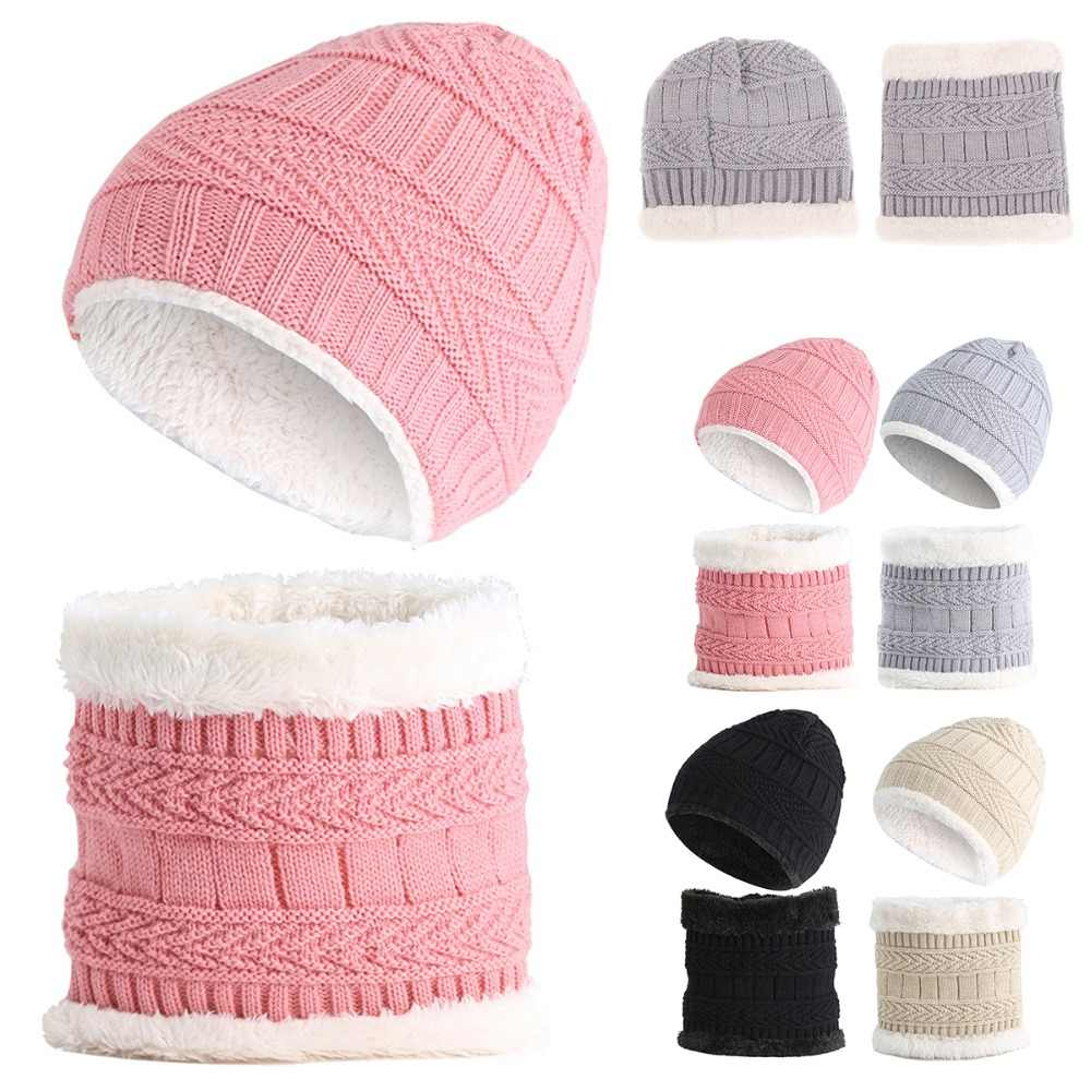 Children Kids Winter Hat Scarf Set Knit Double-Layer Hats 2pcs Baby Girls Boys Thick Warm Fleece Cap Scarf  Neck Warm for 1-8Y