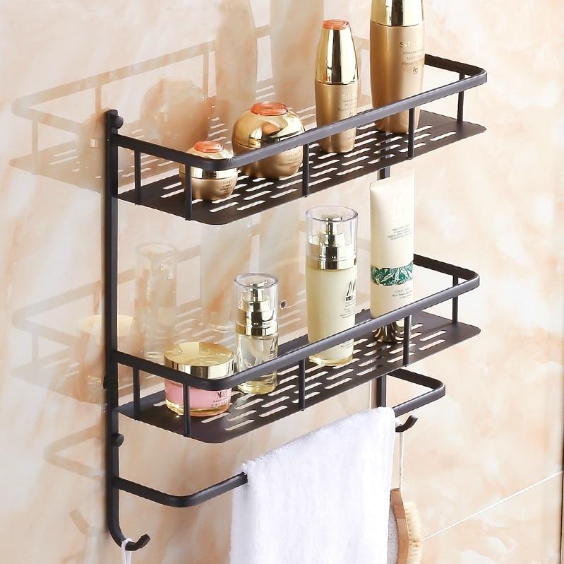 All copper black bathroom shelf bathroom wall storage rack - Small storage table for bathroom ...