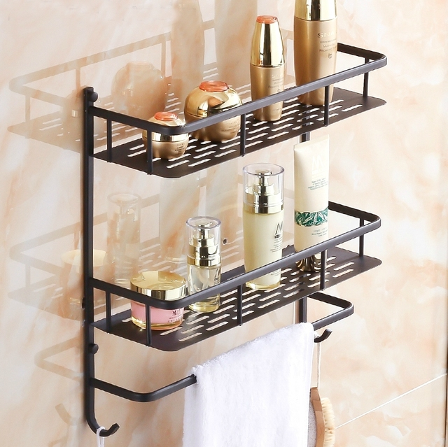 All Copper Black Bathroom Shelf Bathroom Wall Storage Rack Storage Rack  Corner Dressing Table Toilet Continental