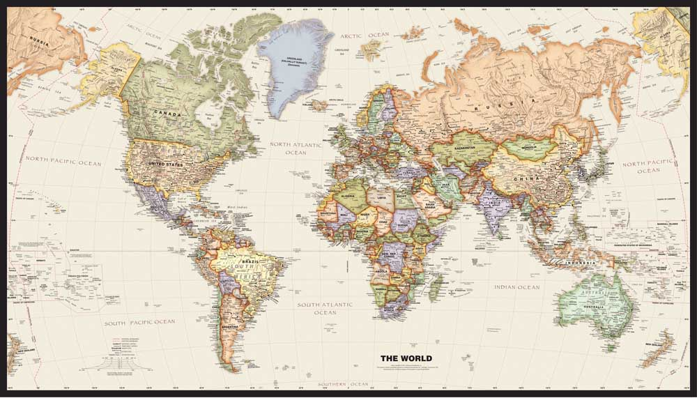 Retro world map canvas oil painting vintage wall art sticker free ship vintage art picture world map printed canvas oil painting home decoration wall pictures for gumiabroncs Images