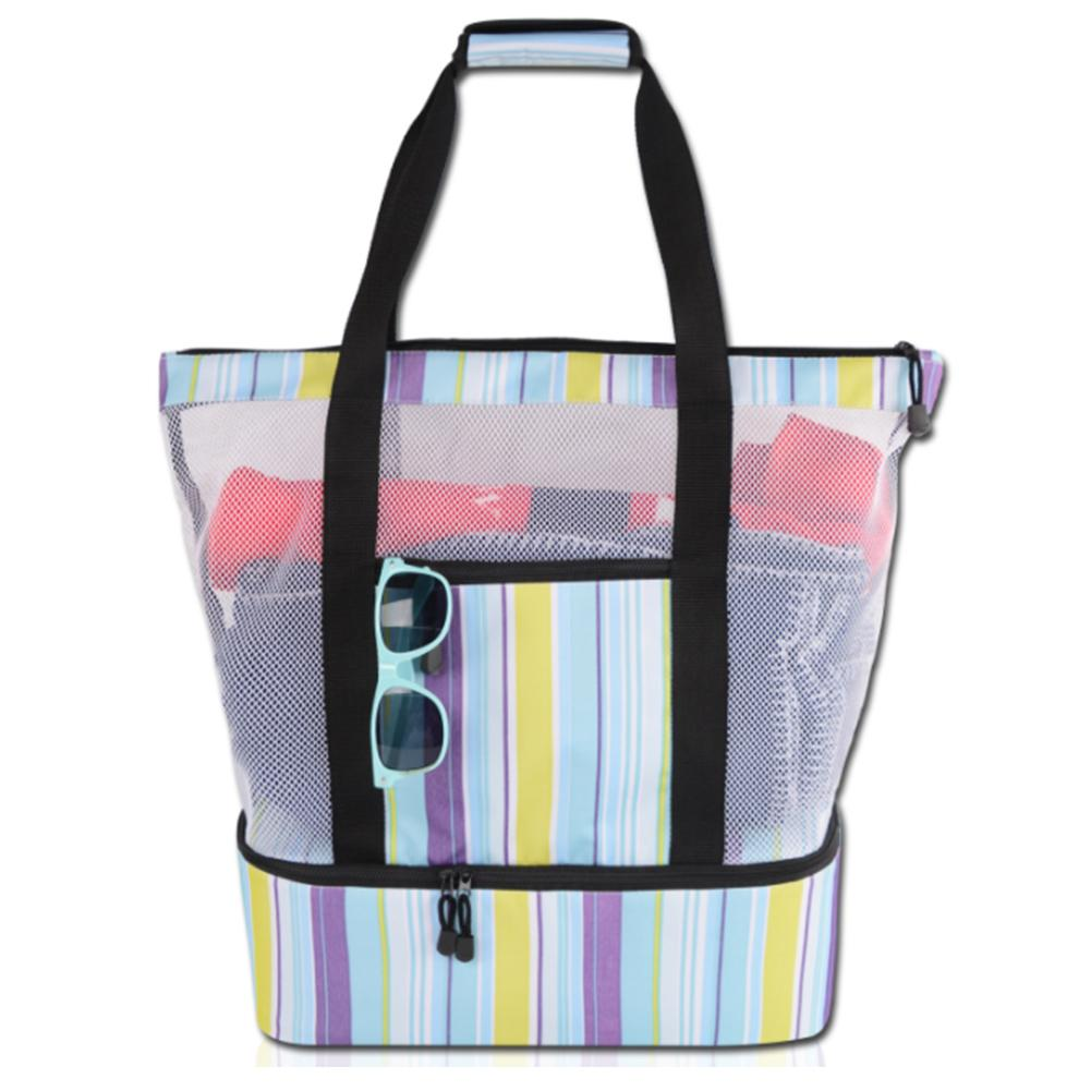 Reusable Insulated Lunch Bag Summer Multi function Picnic Beach Camping Mesh Insulation Bag Waterproof With A Zipper in Storage Bags from Home Garden