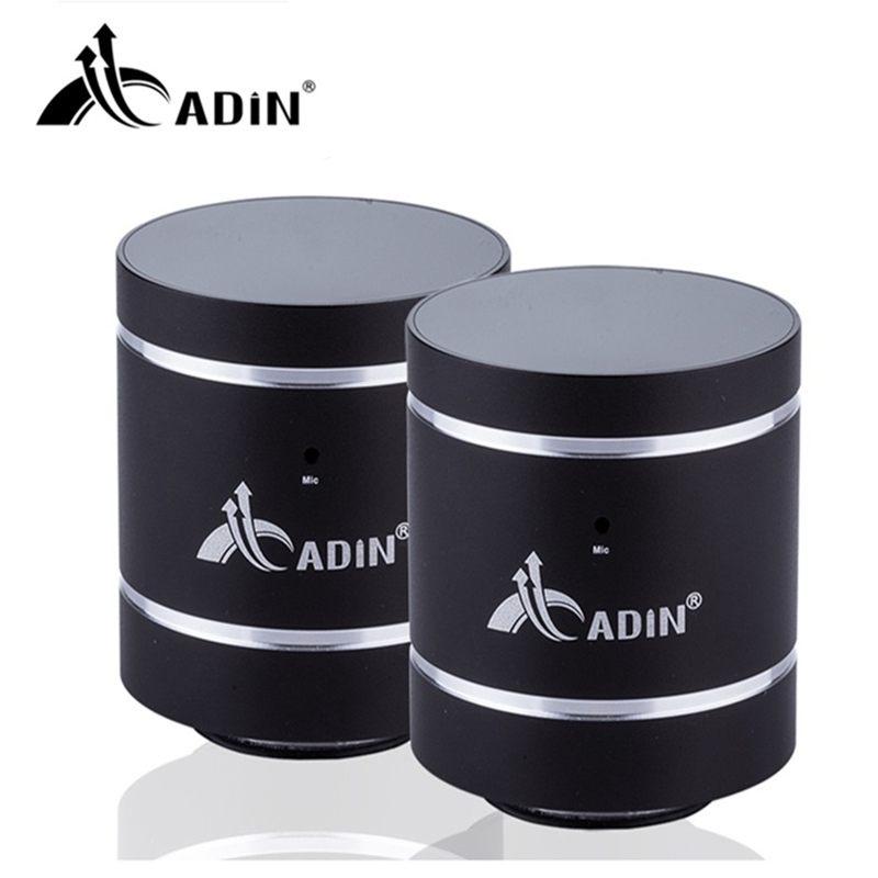 ADIN 20W Bluetooth Speaker Vibration HIFI Speakers Metal Phone Speaker Mini Vibration 3D Stereo Subwoofer With MIC 1 Pair