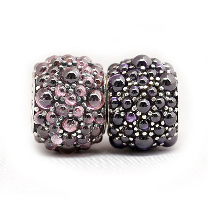 New 925 Sterling Silver Bead Charm Pink & Purple Shimmering Droplet Beads Fit Pandora Bracelet Bangle DIY Jewelry