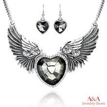 Brightly Punk Style Collar Statement Necklace Love Heart & Angle Wings Pendants Necklaces for Women Antique Silver Plated