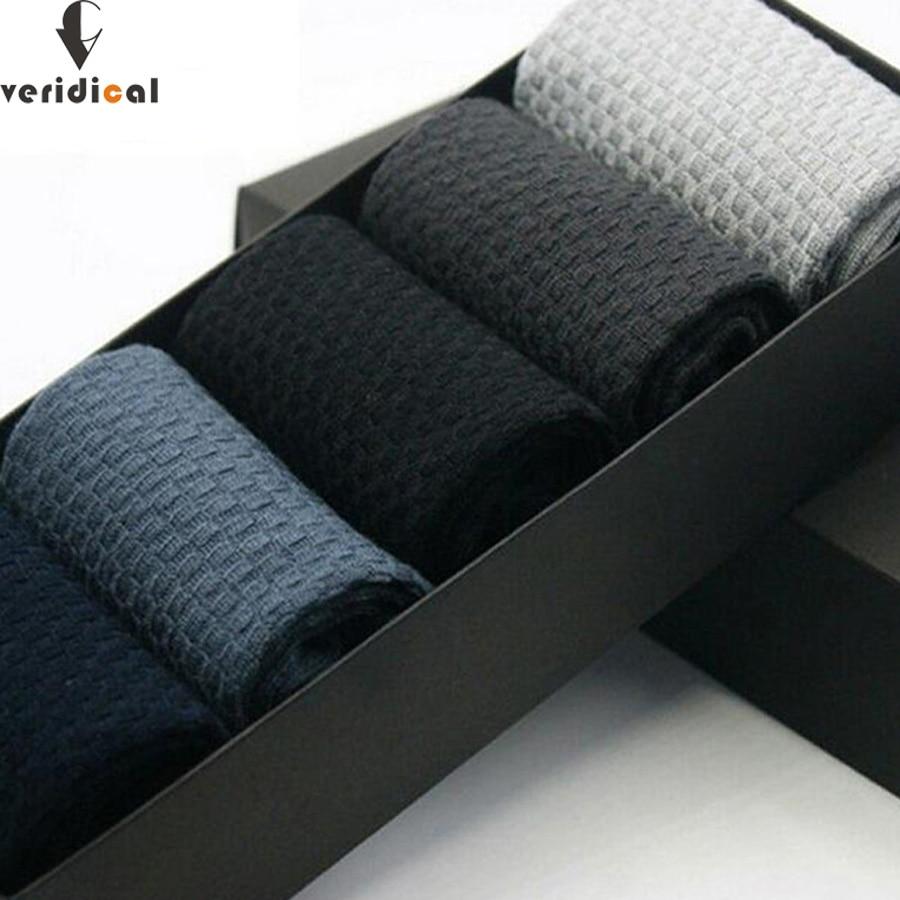 VERIDICAL 2017 New Arrival Fashion Mens Sock gift box male Bamboo Fiber Sock Mens Casual Sock Comfortable 5 pairs/lot business