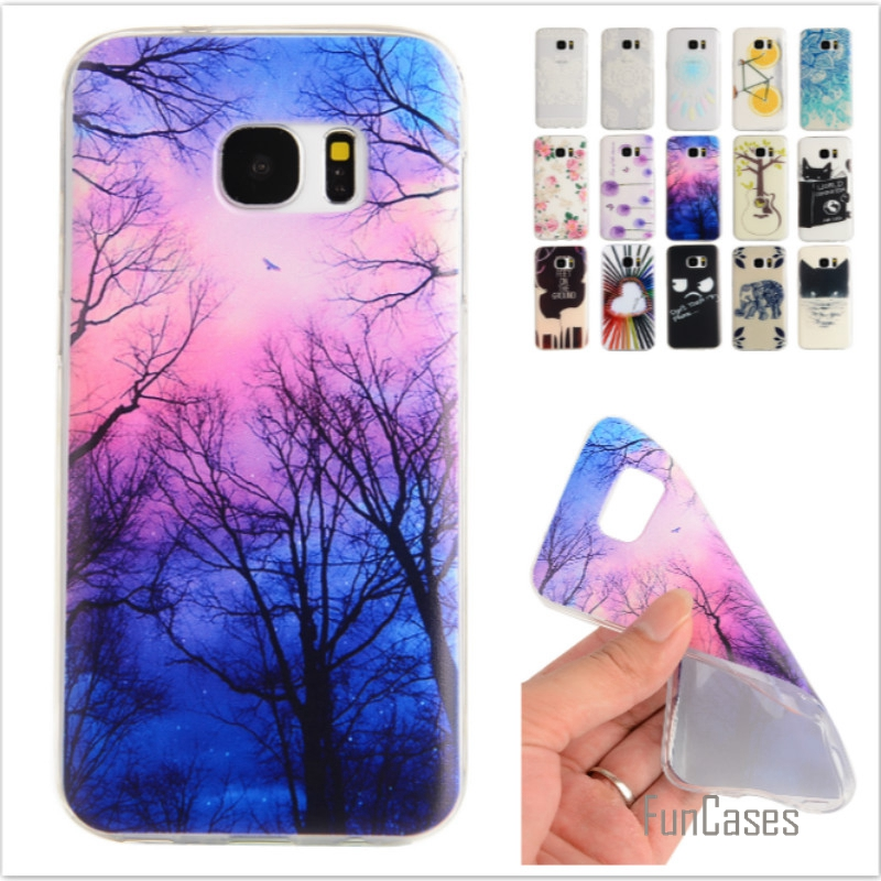 Cartoon Lemon Bike Tree painted Rubber Back Cover Silicon Gel Soft TPU mobile phone case For Samsung Galaxy S7 edge G9350
