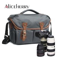 Waterproof Canvas Leather Crossbody Bag Men Vintage Messenger Bags Large Shoulder Bag Travel Camera Bags